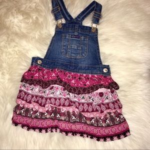 3T denim & paisley overall skirt